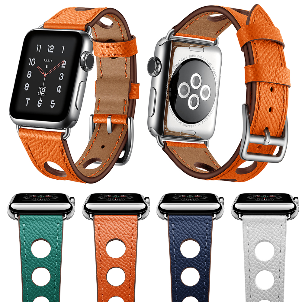 Newest Genuine Leather Watch Strap Herm For Apple Watch Series 3 2 1 iWatch Accessories Band For Apple Series 4 40mm 44mm цена
