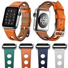 цена Newest Genuine Leather Watch Strap Herm For Apple Watch Series 3 2 1 iWatch Accessories Band For Apple Series 4 40mm 44mm онлайн в 2017 году