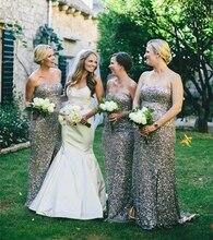 2016 Silver Long Bridesmaid Dresses Sweetheart Sequined SideSlit Mermaid Floor-Length Robe Demoiselle D'honneur Bridesmaid Dress