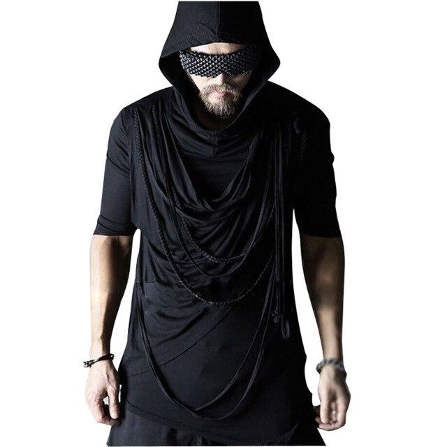 Novos homens encapuzados camisas de t stage show de punk rock dos homens clothing half corda t camisas de manga casuais masculino magro preto tshirt