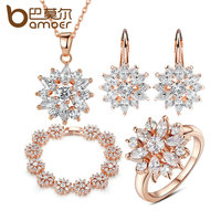 BAMOER 3 Colors 18K Rose Gold Plated Bridal Jewelry Sets More For Women Wedding With High