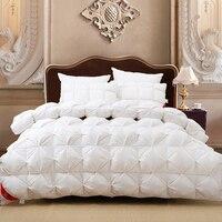 Luxus 100% gänsedaunen weiß plaid könig königin oder 220*240 oder 200*230 tröster doppel größe bett winter decke nobel quilt set