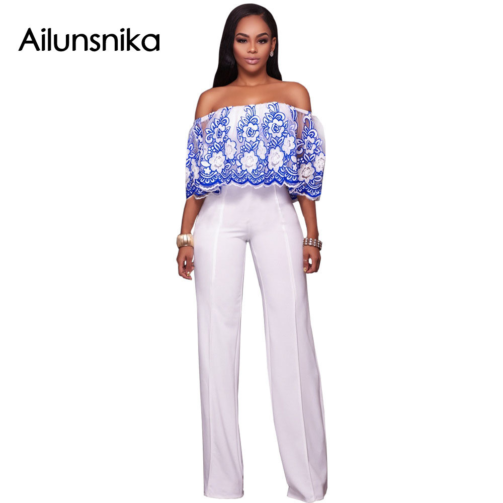 Ailunsnika 2018 Summer Women Sexy Fashion Rompers Lace Embroidery Slash Neck Half Sleeve ...