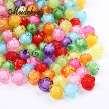 80pc/bag 12mm Cheap Acrylic Transparent colorful With Internal Bead Spacer Double Rose Flower Beads For Jewelry Making Accessory
