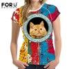 FORUDESIGNS T Shirt Women T Shirt Kawaii Girls Tee Shirt Femme Fashion Summer Cat Tshirt Women