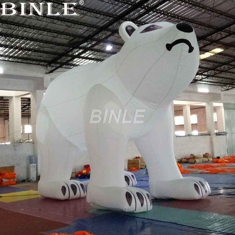 Hot sell inflatable polar bear cartoon model white giant inflatable bear large animal balloon for advertising giant inflatable balloon pvc advertising inflatable tiger inflatable animal head big cartoon helium balloon