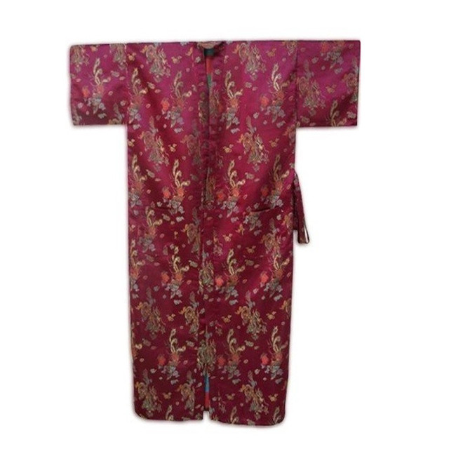 Dropshipping Burgundy Chinese Style Male Silk Bathrobe Summer Lounge Nightwear Classic Kimono Gown Size S M L XL XXL  ZR25