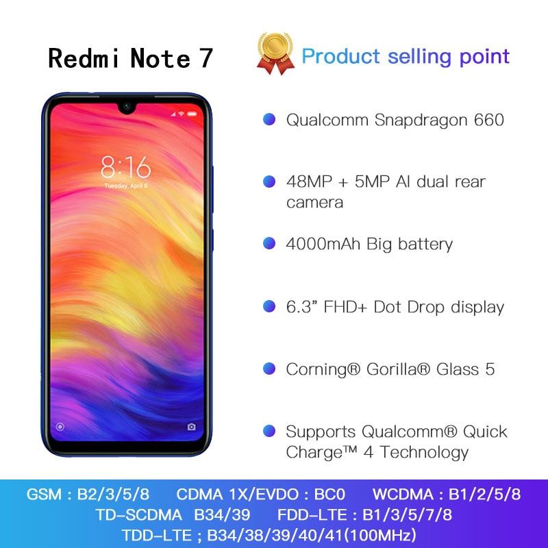 Global ROM Xiaomi Redmi Note 7 4GB 64GB Telephone Snapdragon 660 Octa Core 4000mAh 6.3