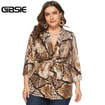 GIBSIE Sexy Deep V Neck Snakeskin Print Cardigan Top 4xl 5xl 6xl Women Plus Size Office Lady 3/4 Sleeve Belted Blouses Tops