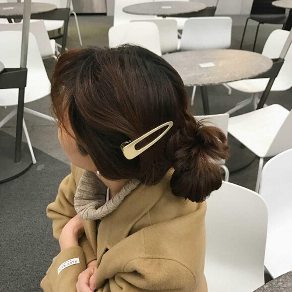 1 horquilla de Metal mate cepillado Retro Clips para el cabello niñas simple salvaje liso hueco pasadores accesorios para el cabello
