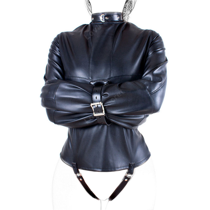 Maryxiong Pu Leather Straitjacket Strict Kinky Fancy Straight Jacket For Women Sm Sm -4840