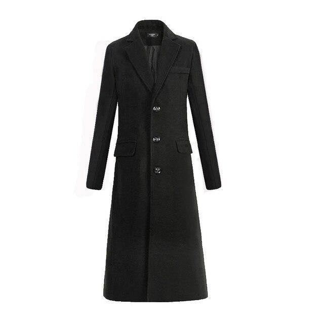 Новый осень-зима тонкой шерсти шерстяная ткань Мужская Мода Досуг Бизнес длинный черный Тренч мужской Повседневное Тренч Для мужчин