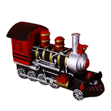 Vintage Train Retro Figurine Miniatures Home Decoration Accessories Resin Train Model Craft Kids Toy Christmas Gift Present стоимость