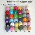 50pc/lot 20mm Round Knitting Cotton Crochet Wooden Beads Balls for DIY decoration baby teething jewelry necklace bracelet