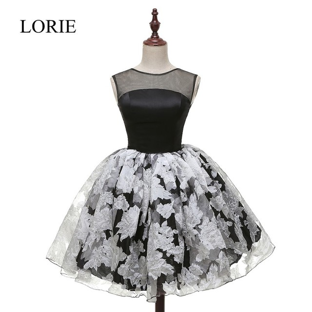 67fe84fe601 LORIE Black And White Short Prom Dress 2018 Sleeveless Vintage Lace  Appliques Cocktail Party Dresses Ball Gown Design