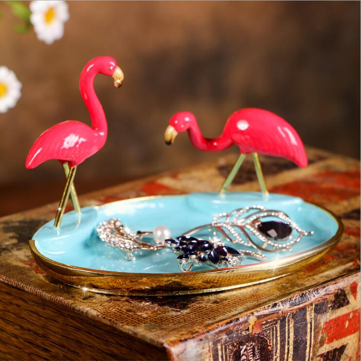 Haute qualité Vintage européen Flamingo métal bijoux plateau bande dessinée métal plateau Jwelry plaque de stockage cadeaux bonnes idées 05136