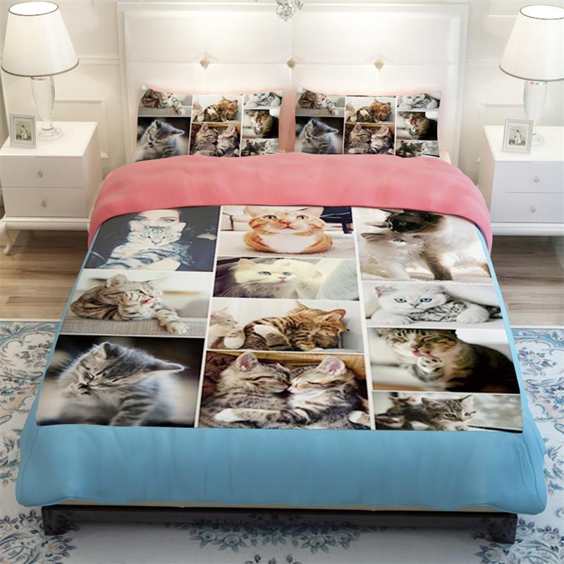 Lovely Cute Dog And Cat Print Bedding Set Soft Polyester Fabric