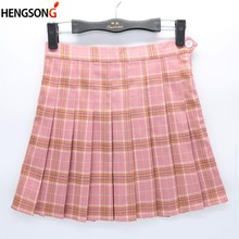 Women Girls Plaid Skirt High Waist Pleated Skater Skirt A-line School Skirt Uniform With Inner Shorts Casual Skirt Skinny Girls(China)