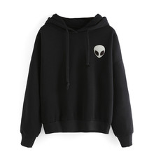 Autumn 2017 Black Women Hoodies Harajuku Alien Print Casual Sweatshirt Long Sleeve Pullover Black Hoodie Tumblr Felpe Donna