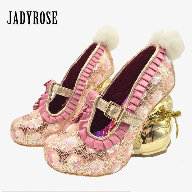Jady Rose Cute Rabbit Heel Design Women Pumps Paillette Sexy High Heels  Mary Janes Platform Shoes Woman 2019 Valentine Shoes b42f897a7fa0
