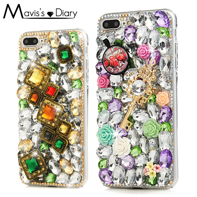Crown and Gold Key Rhinestone Case For iphone X 6 6S 7 8 Plus 5 5S SE 3D Bling Crystal Diamond Shell Cover Capa Coque Funda