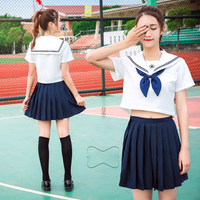 66cac4b3bd UPHYD Summer Preppy Style High Schoolgirl Sailor Uniforms Sakura White Top  Dark Blue Or Red Pleated