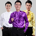 Free Shipping!men's Dress Men Sequined Shirts The Show The Dress Chorus Mc Hotel Ktv Dress Shirt M-XXXL White Purple Golden