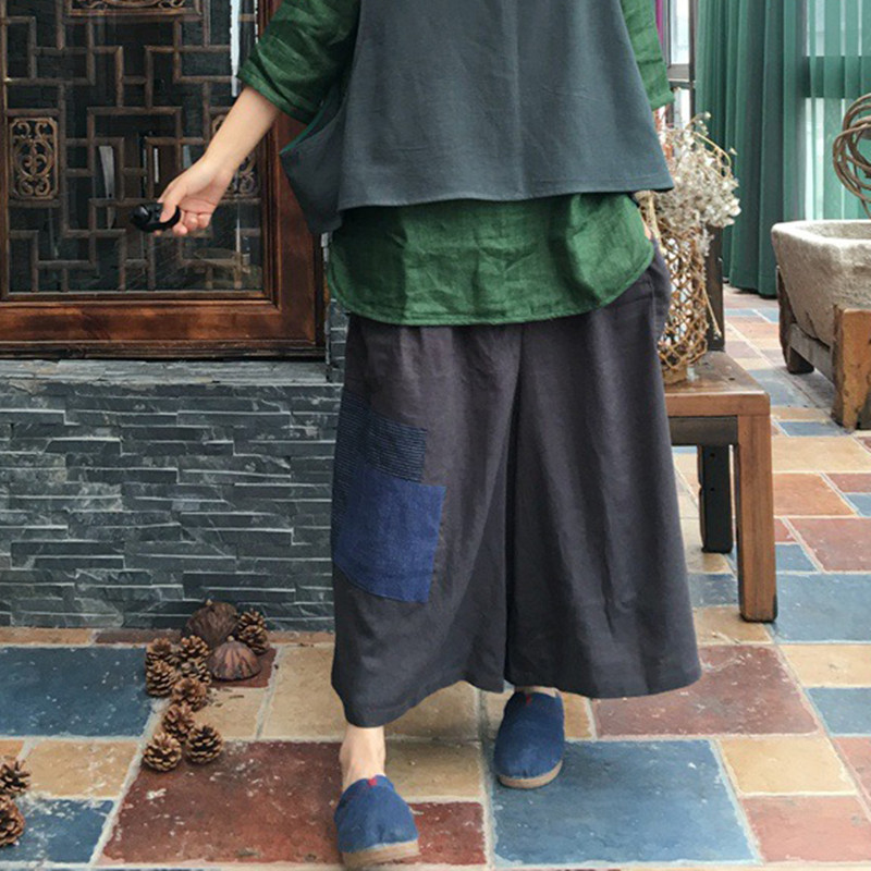 Johnature Vintage Calf-Length   Pants   2018 Summer New Solid Color Patchwork Elastic Waist Pockets Loose Women   Wide     Leg     Pants
