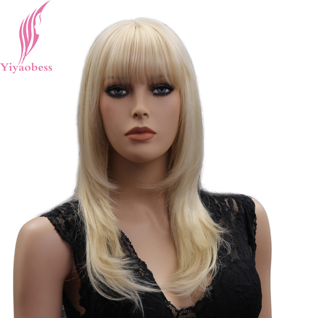b15ff5b388 Yiyaobess 16inch Medium Long Blonde Wig With Bangs Natural Synthetic Hair  Straight Wigs For Women Japanese