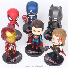 6pcs The Avengers 3 Marvel Superheroes Thor PVC Action Figures Spiderman Anime Figurines Miniature Dolls Kids Toys for Children alen black widow 27cm 1pcs pvc figures play arts kai the avenger marvel action anime figures kids gifts toys