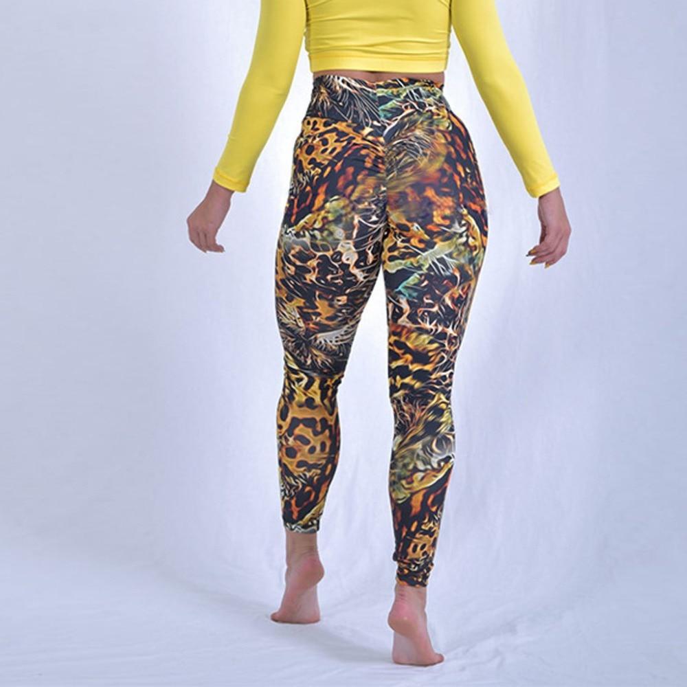 ①  Женские брюки для йоги с печатью Шитье Фитнес Бег Йога Девять минут Брюки спортивные леггинсы Талия  ✔