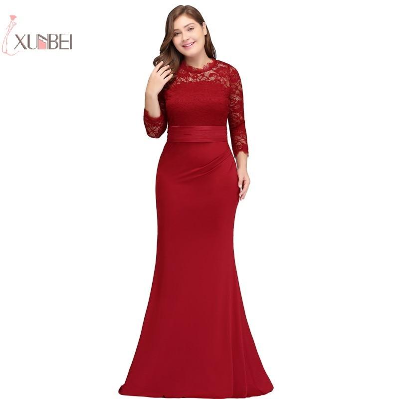 2019 Elegant Mermaid Lace Long Prom Dresses Red Royal Blue Prom Gown Vestido de festa longo New