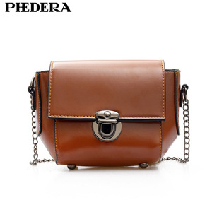 Phedera Brand Latest Fashion Chains Crossbody Bags for Women Small Summer PU Leather Stylish Brown Female Messenger Bag 2019