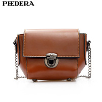 Phedera Latest Fashion Chains Women Crossbody Bags Small Summer PU Leather Women S Messenger Bag Brown