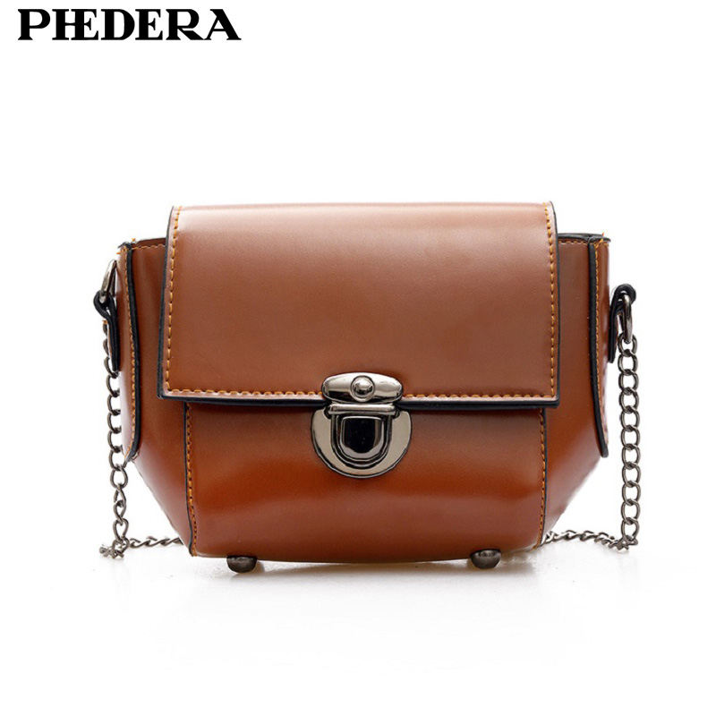 Phedera Brand Latest Fashion Chains Crossbody Bags for Women Small Summer PU Leather Stylish Brown Female Messenger Bag 2017 цена