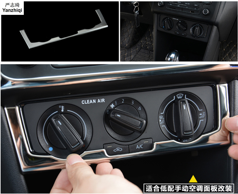 1pc Car Stickers Stainless Steel Manual Air Conditioning