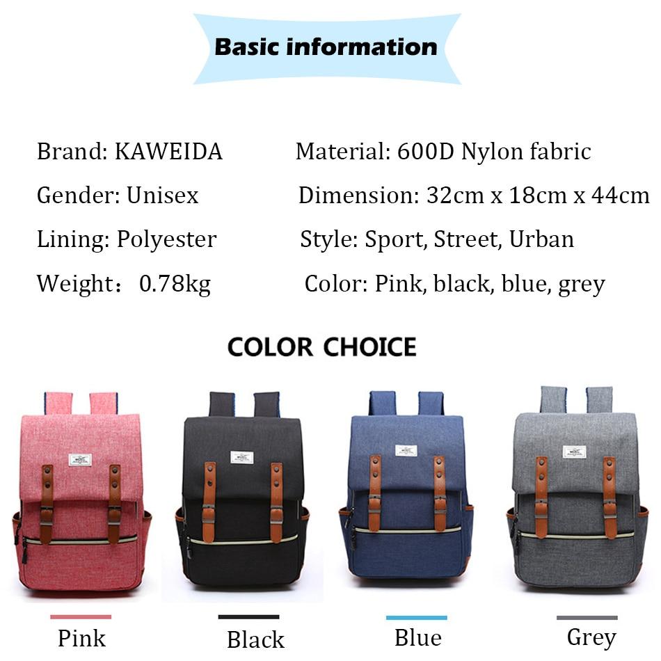 2018 Vintage Men Women Canvas Backpacks School Bags for Teenager Boys Girls Laptop Backpack with USB Charging Fashion Travel Bag (4)