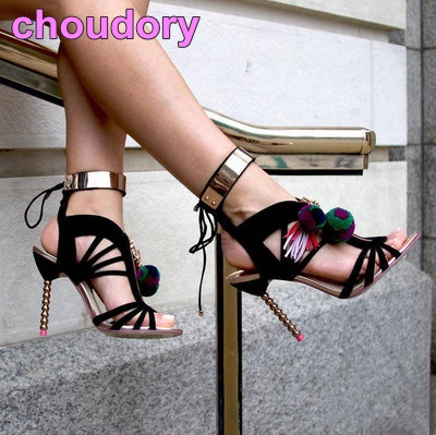 Amazing Women Black Suede Cut-out High Heel Sandals Golden Metal Ankle Strap Lace-up Shoes Pom Pom Decorated Sandals Cheap Price high quality suede leather strappy sandal high heel cut out ankle strap lace up summer dress shoes zapatos dress shoes for women