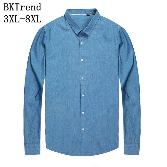 Bktrend 8xl 7xl 6xl 4xl 2018 New Man Denim Cotton Denim Shirt Male