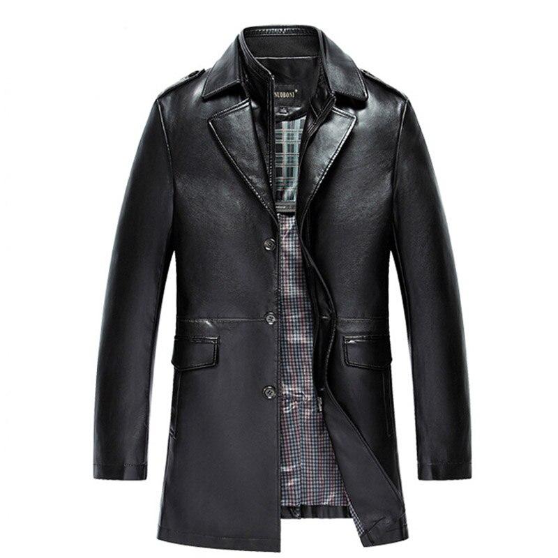 81116b47428 Новое поступление мужская куртка из натуральной кожи мужская куртка  брендовая мужская кожаная куртка-бомбер блейзеры Veste Cuir Homme длинное  кож.