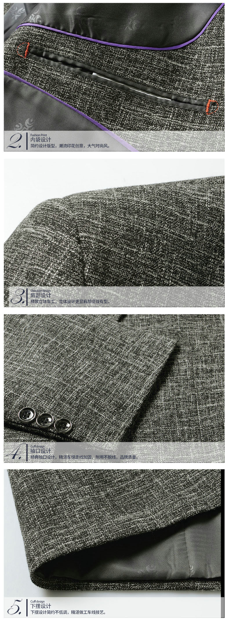 WAEOLSA Men Elegance Blazers Gray Red Khaki Suit Jackets Man Notched Collar Outfits Business Casual Blazer Male Office Suit Jacket Plus Size Wear (1)