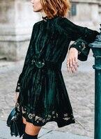 Видеть оранжевый сезон: весна–лето платье 2018 Винтаж зеленый Вельветовое платье ручной работы emnbroidery Florals с расклешенными рукавами женское
