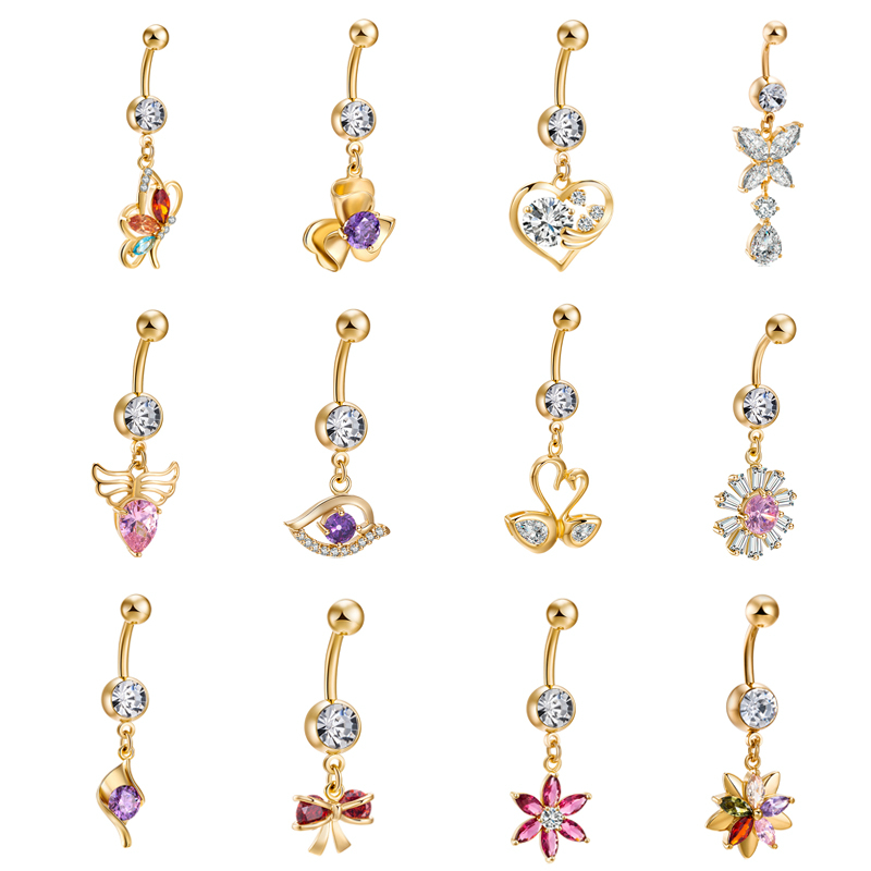 new Fashion Sexy Dangle Belly Bars Belly Button Rings Contracted Surgical Steel Rhinestone Body Jewelry Navel Piercing Rings