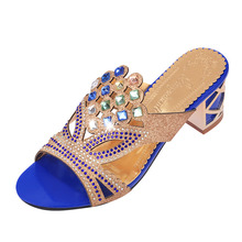 Women Sandals Rhinestones Hollow Slippers Shoes Woman 2019 Summer New High Heels Flip Flops Womens