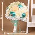 HandMade Top quality beaded Brooch Flower bride Bridal wedding bouquet bridesmaid Europe US blue rose Artificial flower SP8554s