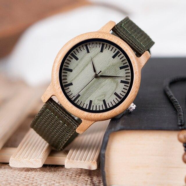 BOBO BIRD D11 bambou bois montres pour femmes hommes marque Design vert Nylon sangles montre livraison directe dans la boîte 2