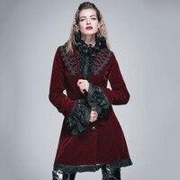 Devil Fashion Victorian Maxi Size Winter Wool Coat Women Steampunk Gothic Long Lace Sleeves Flocking Elegant
