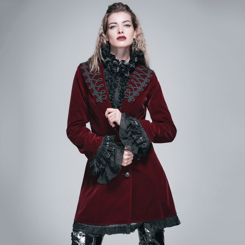 Devil Fashion Gothic Herbst Winter Langer Mantel für Frauen Steampunk V-Ausschnitt Einreiher Beflockung Jacke Mäntel Viktorianischen Mantel
