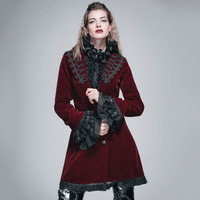 Devil Fashion Gothic Autumn Winter Long Coat for Women Steampunk V Neck Single Breasted Flocking Jacket Coats Victorian Overcoat