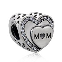 Genuine 925 Sterling Silver Heart Mom Mother Beads fit original Charm Bracelets & Bangles Jewelry Making Mother Gift